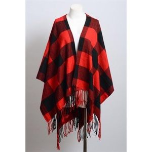 Black and red checkered poncho